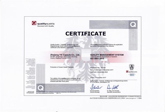 ISO 9001:2015英文认证证书